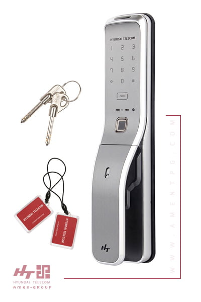 قفل دیجیتال هیوندای 7390SK نقره ای همراه با تگ و کلید مکانیکی غیرقابل کپی